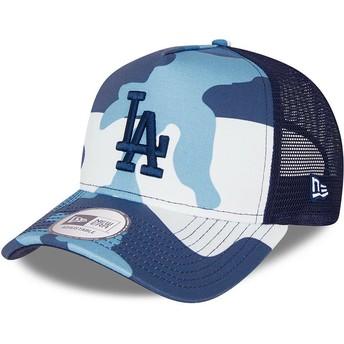 Boné trucker camuflagem azul com logo azul A Frame da Los Angeles Dodgers MLB da New Era