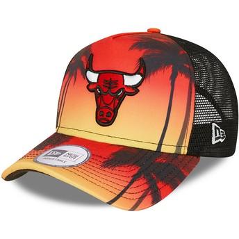 Boné trucker vermelho A Frame Summer City da Chicago Bulls NBA da New Era