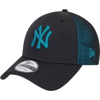Boné curvo preto e azul ajustável com logo azul 9FORTY Mesh Underlay da New York Yankees MLB da New Era