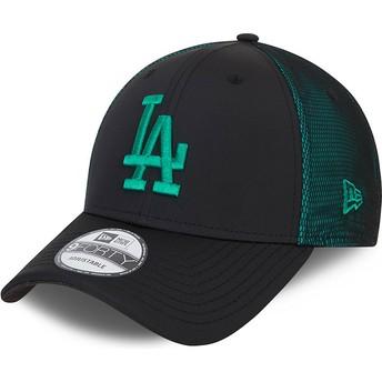 Boné curvo preto e verde ajustável com logo verde 9FORTY Mesh Underlay da Los Angeles Dodgers MLB da New Era
