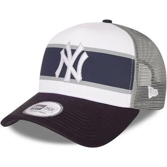 Boné trucker branco e azul marinho A Frame Retro da New York Yankees MLB da New Era
