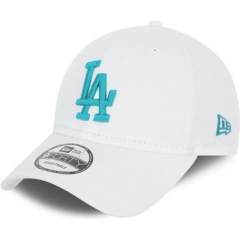 Boné curvo branco ajustável com logo azul 9FORTY League Essential da Los Angeles Dodgers MLB da New Era