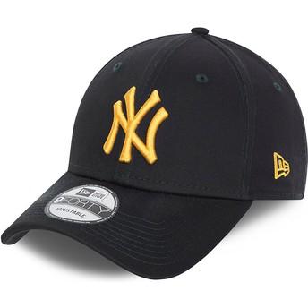 Boné curvo azul marinho ajustável com logo dourado 9FORTY League Essential da New York Yankees MLB da New Era