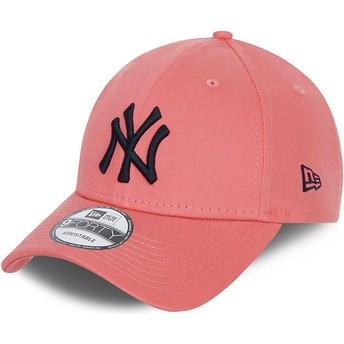 Boné curvo rosa ajustável com logo preto 9FORTY League Essential da New York Yankees MLB da New Era