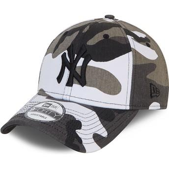 Boné curvo camuflagem preto ajustável com logo preto 9FORTY da New York Yankees MLB da New Era