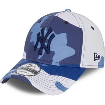Boné curvo camuflagem azul ajustável com logo preto 9FORTY da New York Yankees MLB da New Era