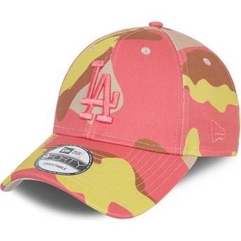 Boné curvo camuflagem rosa ajustável com logo rosa 9FORTY da Los Angeles Dodgers MLB da New Era