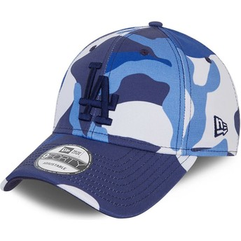 Boné curvo camuflagem azul ajustável com logo azul 9FORTY da Los Angeles Dodgers MLB da New Era
