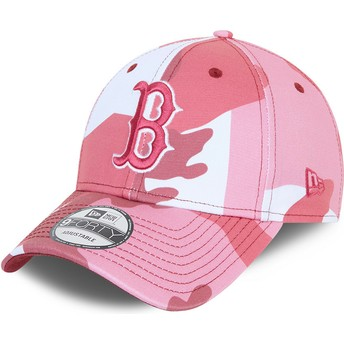 Boné curvo camuflagem rosa ajustável com logo rosa 9FORTY da Boston Red Sox MLB da New Era