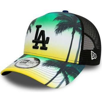 Boné trucker verde com logo preto A Frame Summer City da Los Angeles Dodgers MLB da New Era
