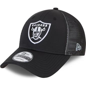 Boné curvo preto ajustável 9FORTY Mesh Underlay da Las Vegas Raiders NFL da New Era
