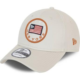 Boné curvo cinza ajustável 9FORTY USA Flag da New Era