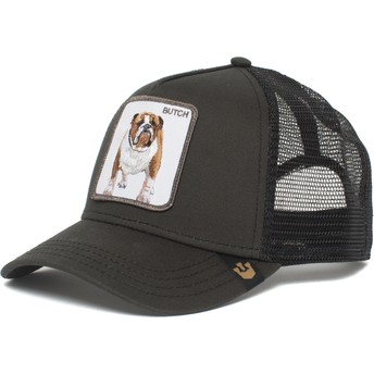 Boné trucker preto cão bulldog Butch Brutus Drake The Farm da Goorin Bros.