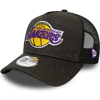 Boné trucker preto Shadow Tech A Frame da Los Angeles Lakers MLB da New Era