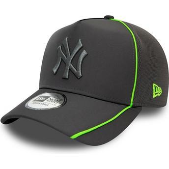 Boné curvo cinza snapback com logo cinza Feather Pipe A Frame da New York Yankees MLB da New Era