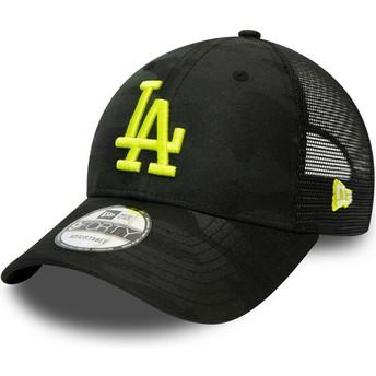 Boné curvo camuflagem preto com logo amarelo ajustável 9FORTY Home Field da Los Angeles Dodgers MLB da New Era