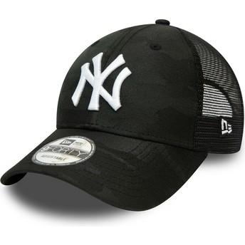 Boné curvo camuflagem preto ajustável 9FORTY Home Field da New York Yankees MLB da New Era
