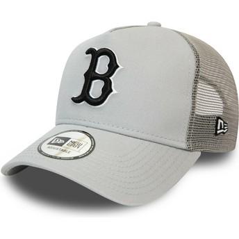 Boné trucker cinza com logo preto League Essential A Frame da Boston Red Sox MLB da New Era