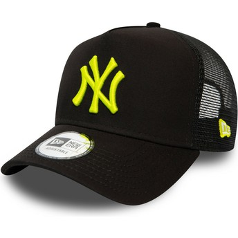 Boné trucker preto com logo amarelo League Essential A Frame da New York Yankees MLB da New Era