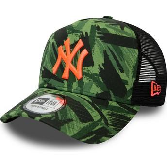 Boné trucker camuflagem com logo laranja Seasonal A Frame da New York Yankees MLB da New Era