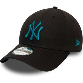 Boné curvo preto ajustável com logo azul 9FORTY League Essential da New York Yankees MLB da New Era