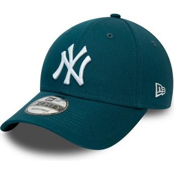 Boné curvo azul ajustável 9FORTY League Essential da New York Yankees MLB da New Era