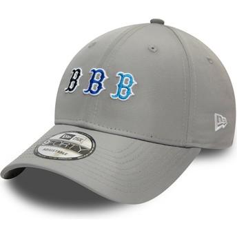 Boné curvo cinza ajustável 9FORTY Stack Logo da Boston Red Sox MLB da New Era