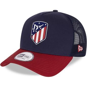 Boné trucker azul e vermelho Rubber Logo A Frame da Atlético de Madrid LFP da New Era