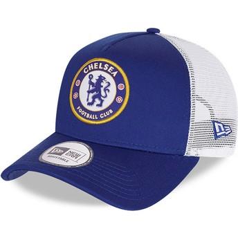 Boné trucker azul Cotton A Frame da Chelsea Football Club da New Era
