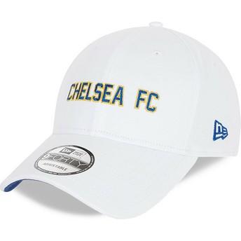 Boné curvo branco ajustável 9FORTY Cotton Wordmark da Chelsea Football Club da New Era