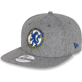 Boné plano cinza snapback 9FIFTY Low Profile Heritage da Chelsea Football Club da New Era
