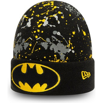 Gorro preto para criança Cuff Knit Paint Splat Batman DC Comics da New Era