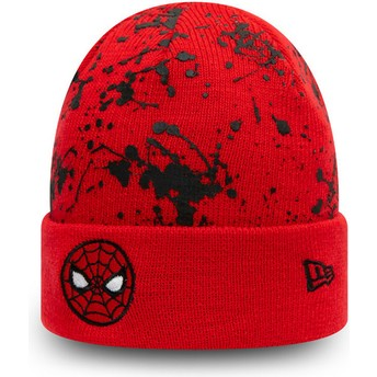 Gorro vermelho para criança Cuff Knit Paint Splat Spider-Man Marvel Comics da New Era