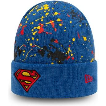 Gorro azul para criança Cuff Knit Paint Splat Superman DC Comics da New Era