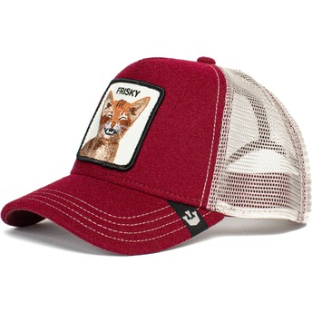 Boné trucker vermelho gato Frisky Whisky The Farm da Goorin Bros.
