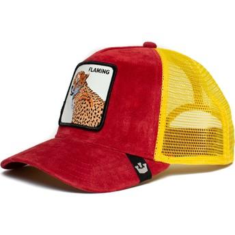 Boné trucker vermelho e amarelo leopardo Flaming Hot Cheetah The Farm da Goorin Bros.