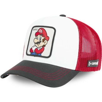Boné trucker branco, vermelho e preto Mario SMB MAR Super Mario Bros. da Capslab