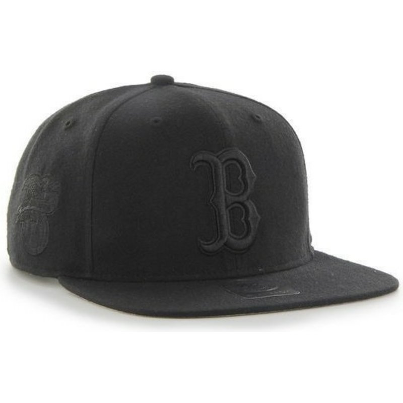 bone-plano-preto-snapback-com-logo-preto-dos-boston-red-sox-mlb-sure-shot-da-47-brand