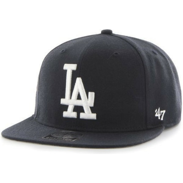 bone-plano-preto-snapback-com-logo-branco-dos-los-angeles-dodgers-mlb-sure-shot-da-47-brand