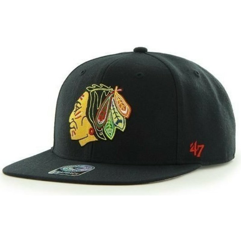 bone-plano-preto-snapback-dos-chicago-blackhawks-nhl-sure-shot-da-47-brand