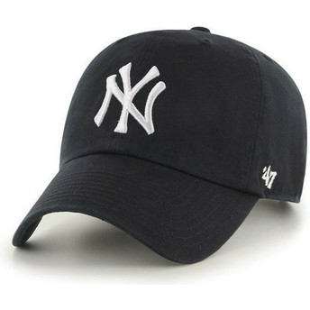 Boné curvo preto dos New York Yankees MLB Clean Up da 47 Brand