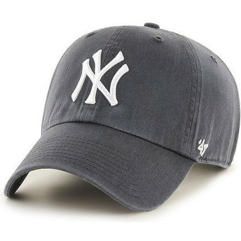Boné curvo cinza escuro dos New York Yankees MLB Clean Up da 47 Brand