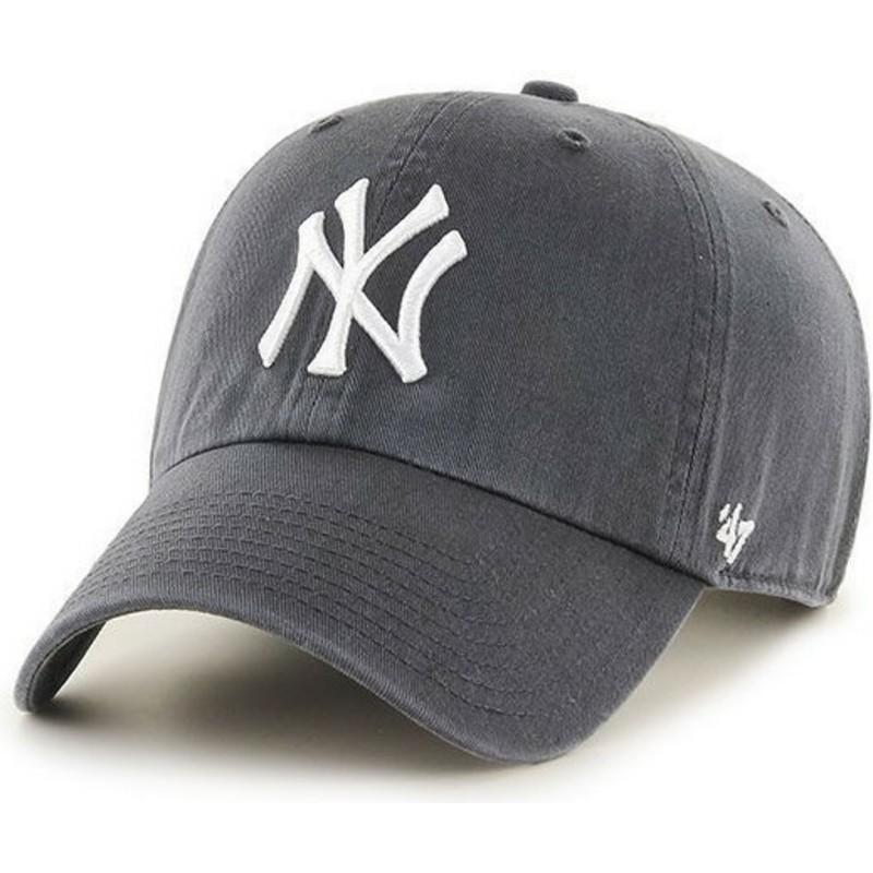 3ac319e697b87 Boné curvo cinza dos New York Yankees MLB Clean Up da 47 Brand ...