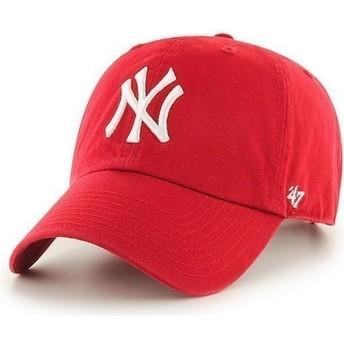 Boné curvo vermelho dos New York Yankees MLB Clean Up da 47 Brand