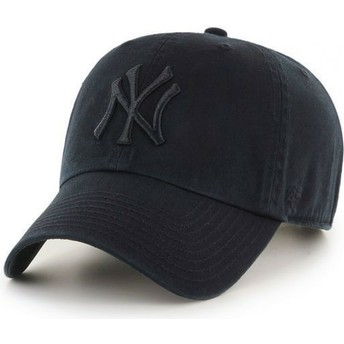 Boné curvo preto escuro com logo preto dos New York Yankees MLB Clean Up da 47 Brand