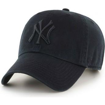 Boné curvo preto escuro com logo preto dos New York Yankees MLB Clean Up da 47 Brand