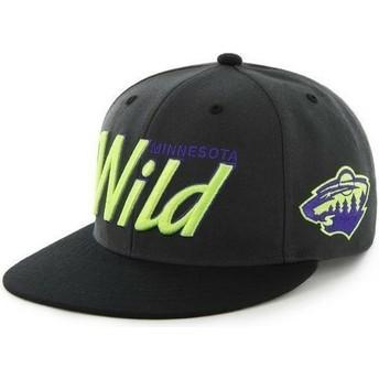 Boné plano preto snapback com logo com letras dos Minnesota Wild NHL da 47 Brand
