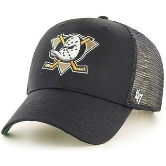 Boné trucker preto com logo frontal grande dos NHL Anaheim Ducks da 47 Brand