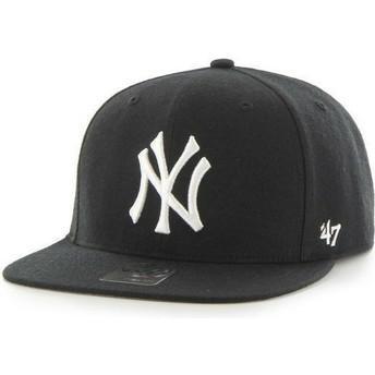 Boné plano preto snapback liso dos MLB New York Yankees da 47 Brand