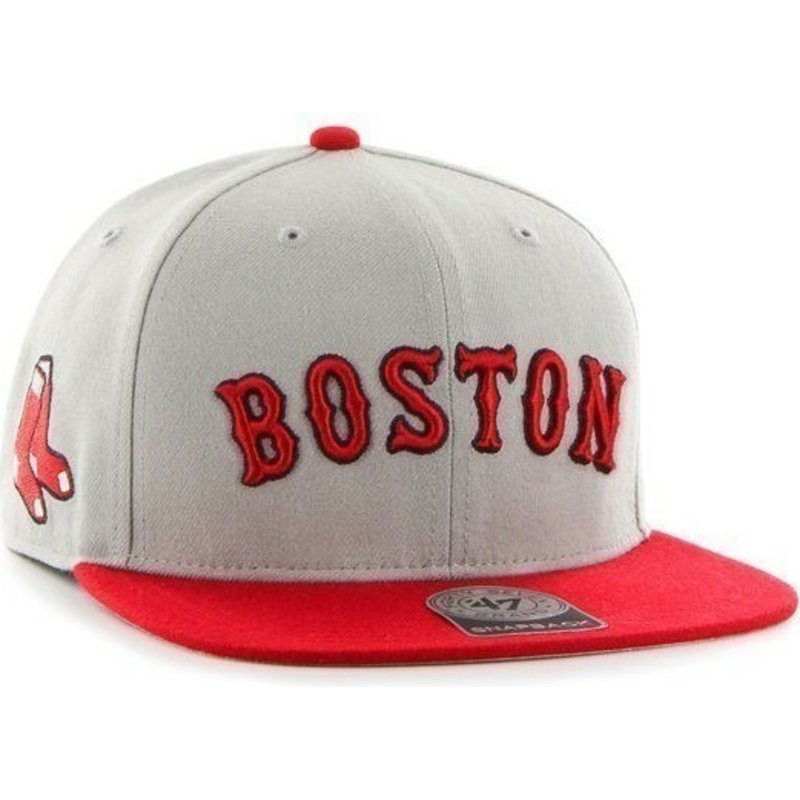 bone-plano-cinza-snapback-com-logo-lateral-dos-mlb-boston-red-sox-da-47-brand